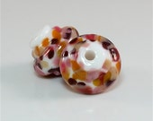 Handmade Lampwork Bead Earring Pair Set of 2 SRA White, Pink, Red, Orange, Apricot, Cream DUST Team LE Team