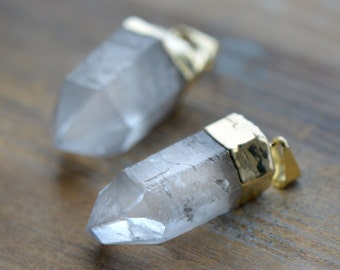 1 - Clear Rock Crystal Pointer Pendant Charm 24K Gold Plated Gemstone Jewelry Supplies (DA110)