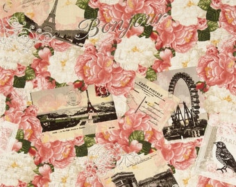 Timeless Treasures - Bonjour Mon Amour- Postcards and Peonies Collage - Choose Your Cut 1/2 or Full Yard