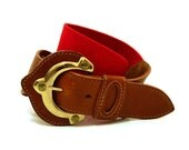 RESERVED- Vintage Red Brown Leather Belt S Vtg Red Stretch Wide Waist Belt Small