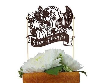 Thanksgiving Give Thanks Cornucopia Paper Cake Topper