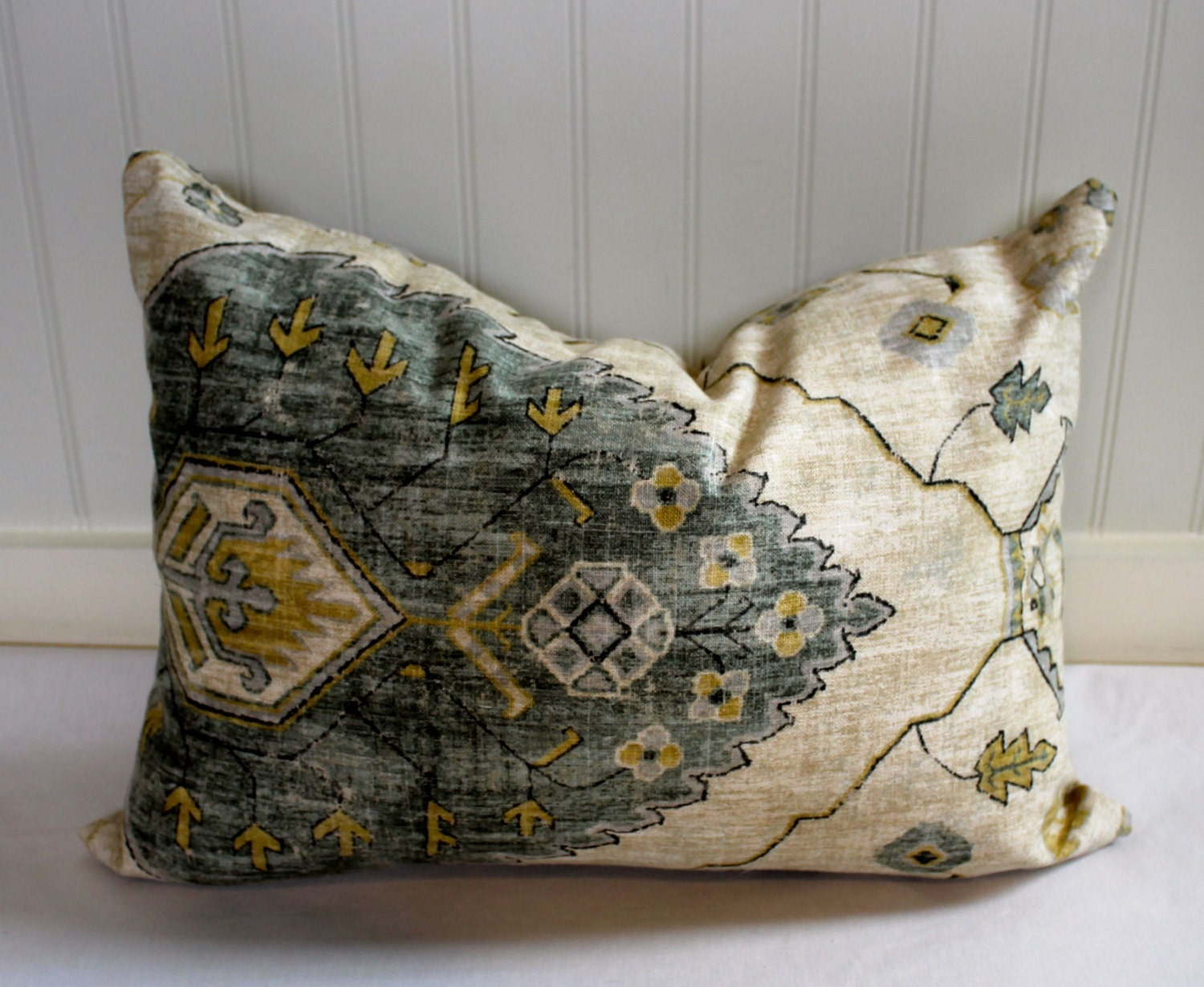 Grey Green Gold Taupe And Oatmeal Ikat Pillow Cover