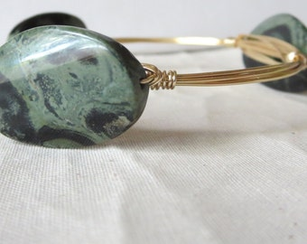 "Green and Black Jasper Stone Bangle Bracelet ""Bourbon and Bowties Inspired"
