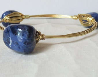 "Sodalite Nugget Bangle Bracelet ""Bourbon and Bowties"" Inspired"