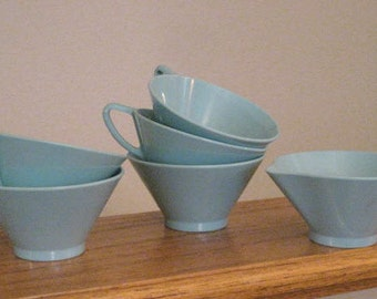 Vintage aqua melmac.  Cups and creamer.  Set.  Lot. Melamine.