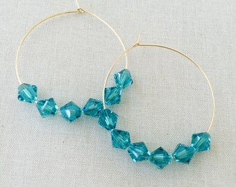 Blue Crystal Hoop Earrings- 14K Gold Filled Hoops, Swarvoski Crystals Earrings, Hoop Earrings, Mother's Day Gift, Birthday Gift