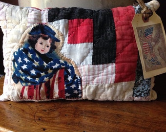 Primitive Americana Pillow Tuck~ Very Prim vintage Quilt Pillow Tuck~ Americana~ olde log cabin quilt~ Fourth of July