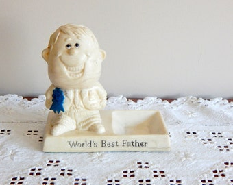 Vintage Figurine World's Best Father 1970's Statue Figurine Fathers Day Gift For Dad