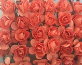 Set of 24 Orange Mulberry Paper Roses