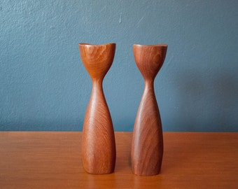 Danish Teak Candle Holders