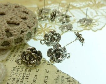 20 ( 10 pair ) earring  post findings with 3 d rose and loop  on post tip antique silver . raos wiht out loop is 13 mm post 12 mm