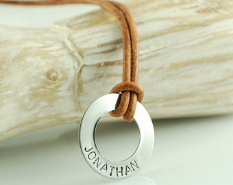 Mens hand stamped washer leather necklace, personalized washer necklace, fathers day gift