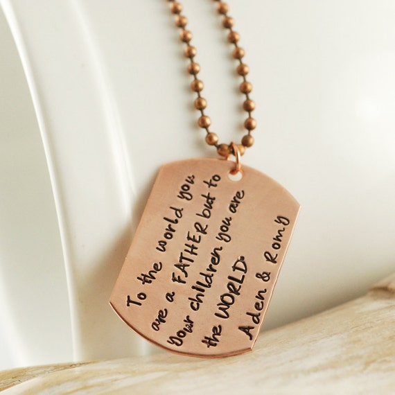 copper sted mens necklace personalized by