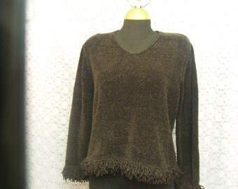 Ladies Brown Sweater M size Acrylic, Chocolate Brown, Long Sleeve, Tassels, Cozy Sweater, Fringe