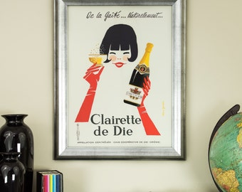 Clairette de Die, 12-Inch by 16-Inch Framed Vintage Advertising Poster, Wood Composite Frame (0811216ART04A)