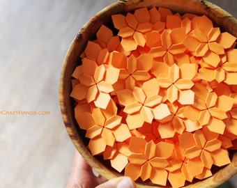100 neon orange wedding petals . origami flowers . table decorations . paper flowers . beautiful wedding petals