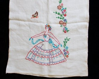 Vintage Tea Towel with a Beautiful Women and Flowers