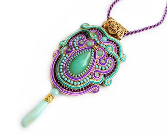 Handmade Bollywood style Soutache pendant  - elegant, classy and unusual Soutache Jewelry - Jewel of the Percia