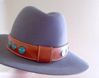 Vintage Fedora Les Copains Gray Felted Rabbit Hair Boho Western Hat 1980s