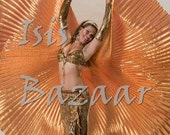 Pretty  New Cute Copper  Lame Egyptian Professional Bellydance Costume ISIS WINGS