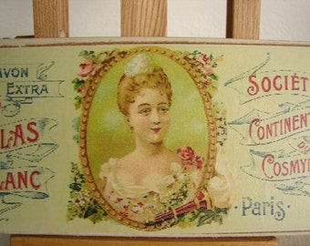 vintage French soap savon, white lilacs, advertising label on wood-shabby chic, small gift