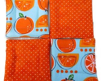 Quilted Coaster Set, Orange Slice Coaster Set, Orange Slice Drink Coasters, House Warming Gift, Drink Coasters, Coaster Set, Hostess Gift