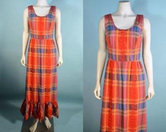 "Vintage 60s Plaid Preppy Mod Ruffle Maxi Sun Dress/ Festival Party Beach Weekend Summer Dress/60s Kawaii School Girl Maxi Dress 27"" Waist"