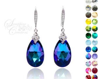 Purple Blue Earrings Heliotrope Crystal Earrings Swarovski Wedding Jewelry Something Blue Bridesmaid Gift Earrings Dark Purple K012