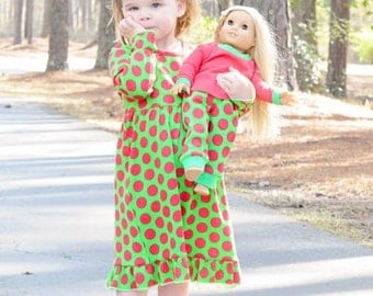 Personalized Christmas Nightgown Red Green Baby Children Toddlers Christmas Pajamas Girls Stripe Pajamas Monogrammed Gown PJs