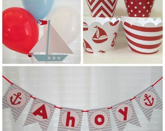 Nautical Party Banner ~ Ahoy ~ Boat ~ It's a Boy ~ Anchor ~ Stripes ~ Red ~ Light Blue ~ Navy