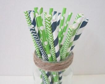 Navy Blue Lime Green Paper Straws ~ Drinking Straws ~ Wedding Straws ~ Shower Straws