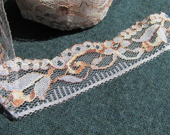 Variegated White & Brown Lace - 10 yards