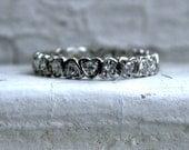 Vintage Platinum Pave Diamond Eternity Wedding Band - 0.42ct.