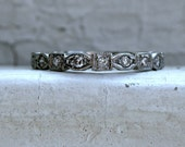 Vintage Platinum Diamond Scalloped Eternity Wedding Band - 0.45ct.