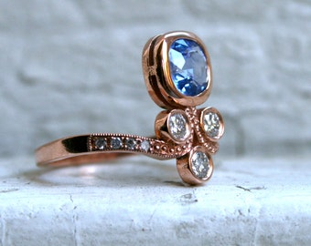 Sapphire and Diamond Antique Style Engagement Ring in 14K Rose Gold.