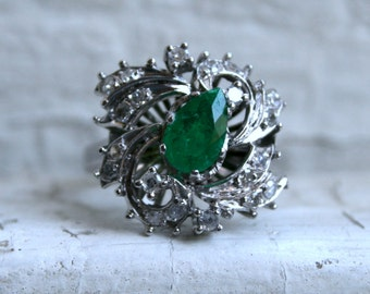 RESERVED - Retro Vintage 14K White Gold Diamond and Emerald Cluster Engagement Ring - 1.15ct.