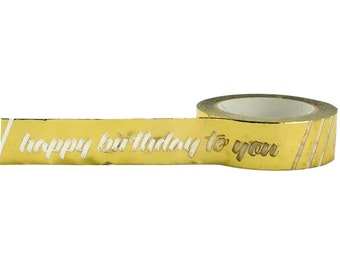 Happy Birthday Gold Foil Washi Tape, 15mm with Cutter by Little B