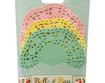 30 Paper Lace Doilies (Pink, Yellow, Green) by  Belle and Boo
