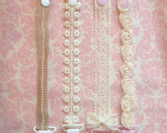 Shabby chic Pacifier clip/ binky clip/ pacifier strap/ pacifier holder