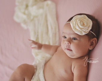 Cream satin flower on matching skinny headband/ newborn headband/ baby headband