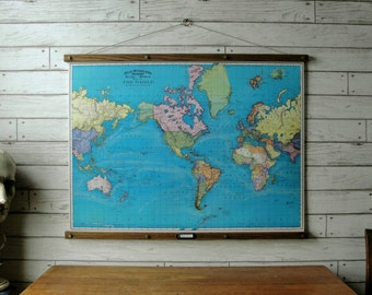 Vintage World Map Pull Down Reproduction with Canvas Print and Oak Wood and Brass Hanger / World Map 1897