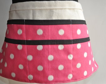 Vendor Apron,  Women's Utility Apron, Pink and white polka dot Apron, Teacher apron, Pink and black vendor apron.  Ready to ship.