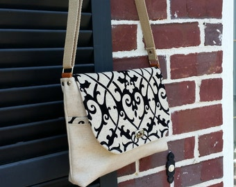 Light gray and black linen satchel, messenger bag, crossbody bag