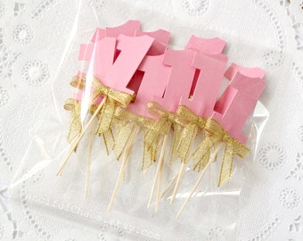 12 Number One Pink and Gold Cupcake Toppers, Baby Girl 1st Birthday, Party Decorations