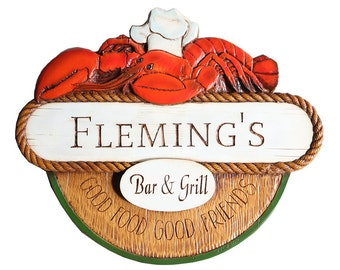 Nautical Decor Lobster Personalized Sign