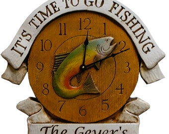 Time To Fish Clock personalized with a name or phrase
