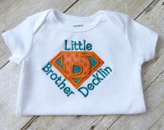 Super hero little brother shirt, embroidered shirt, little  brother, super hero letter, super hero emblem