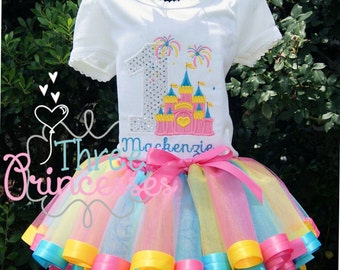 Princess CastleTutu Set Includes Tutu Shirt and Bow Sunshine Tutu Set Birthday