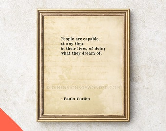 Paulo Coelho quote PRINTABLE, Printable quotes, instant download, DIY printable typography, typographic instant art, print yourself at home.