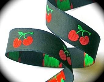 "Cherry Woven Ribbon - 5/8"" x 3 yards Navy Blue, Red & Green"